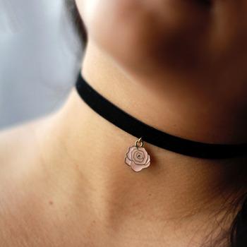 Pink Rose Enamel Charm Black Velvet Choker
