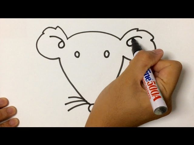 SIMPLE LESSON HOW TO DRAW ANIMAL : MOUSE FACE USING MARKER PEN