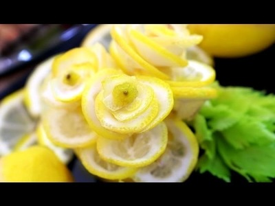 Step By Step: How It's Made Lemon Rose Flower | Vegetable Carving Garnish | Food Decoration