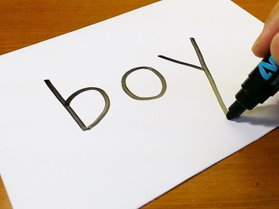 Very Easy ! How to turn words BOY into a Cartoon - art on paper