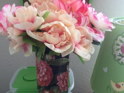 DIY Dollar Tree Spring Shabby Chic Flower Arrangement - Quick & Easy