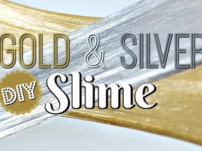 DIY FLUFFY GOLD & SILVER SLIME - METALLIC POKING SLIME!  NO BORAX!