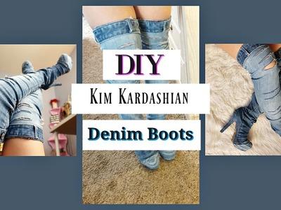 DIY Kim Kardashian Inspired Denim Boots | pinkcyndixo