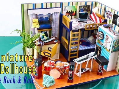 "DIY Miniature Dollhouse Kit With Working Lights ""I Love Rock & Roll"""
