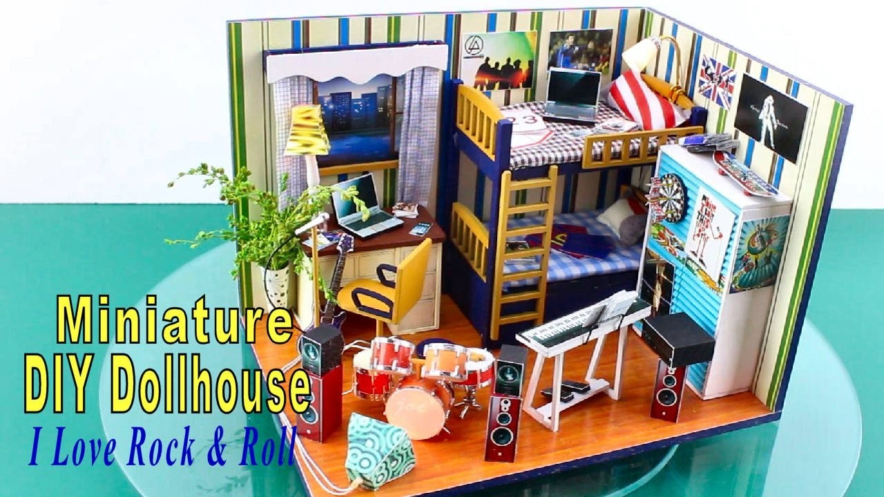 """DIY Miniature Dollhouse Kit With Working Lights """"I Love Rock & Roll"""""""