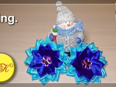 Elastic bands ''The blue stars'' in kanzashi style, master class DIY (Eng.)