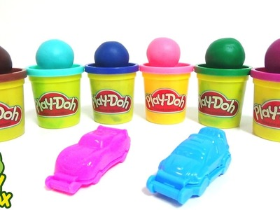 Make CARS with Play Doh DIY learn Colours Clay Poli Cup Pokemon GO Capsule