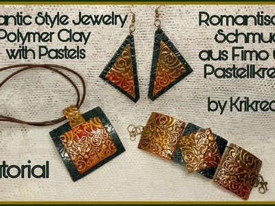 Romantic Style Jewelry , Polymer Clay with Pastels, Tutorial. Romantischer Schmuck,