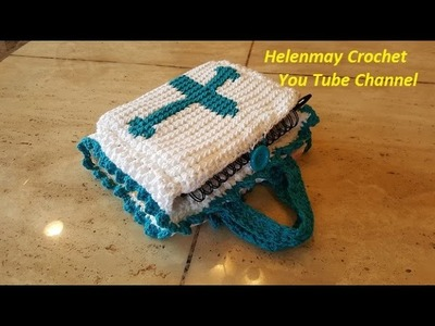 Crochet Book Cover With Cross Emblem and handles DIY Video Tutorial