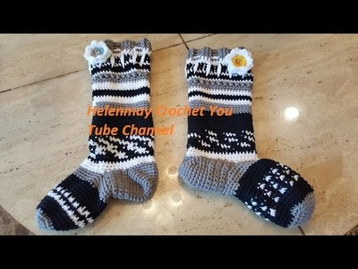 Crochet Quick and Easy Beginner Knee High Sock Slippers DIY Tutorial