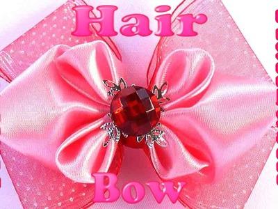 DIY hair accessories, Ribbon hair bow, Kanzashi bow tutorial, how to make