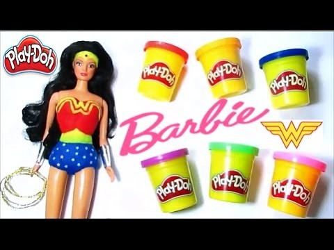 Diy Play Doh How To Make Barbie Wonder Woman Super Hero Girls Costumes For Barbie With Play Doh
