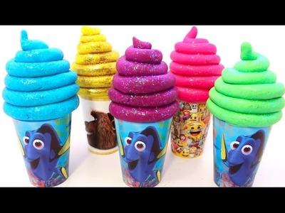 DIY Play Doh Super Glitter Ice Cream Learn Colors Foam Surprise Eggs Finding Nemo Dory Superhero