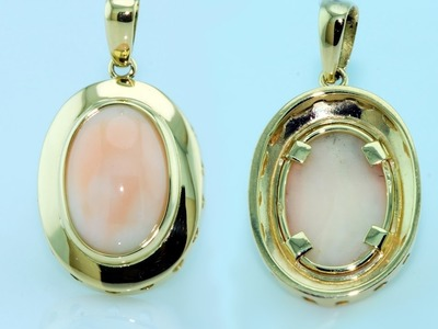 Handmade pendent with gold bezel setting for delicate gems