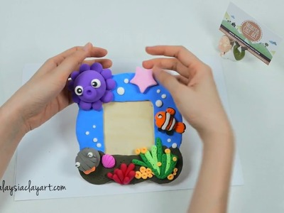 Light Air Dry Clay Tutorial on Photo Frame with Underwater Theme