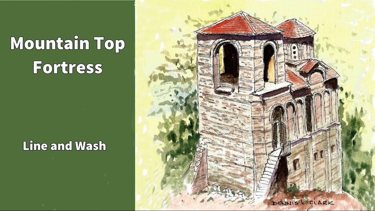 Line and wash watercolor painting tutorial -  how to draw and paint a mountain top fortress