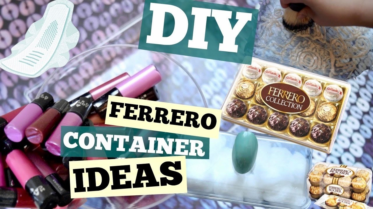 REPURPOSE 8: DIY FERRERO CONTAINER IDEAS.Beauty & Makeup Hacks.Makeup Holder.Last Minute Ideas