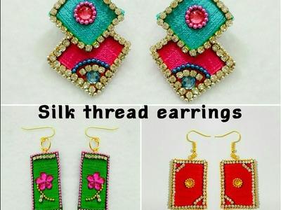 Silk Thread Earrings||Paper Base|| Silk Thread Fancy Earrings(Tutorial)