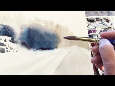 Watercolor painting demonstration: wet-in-wet to create distance