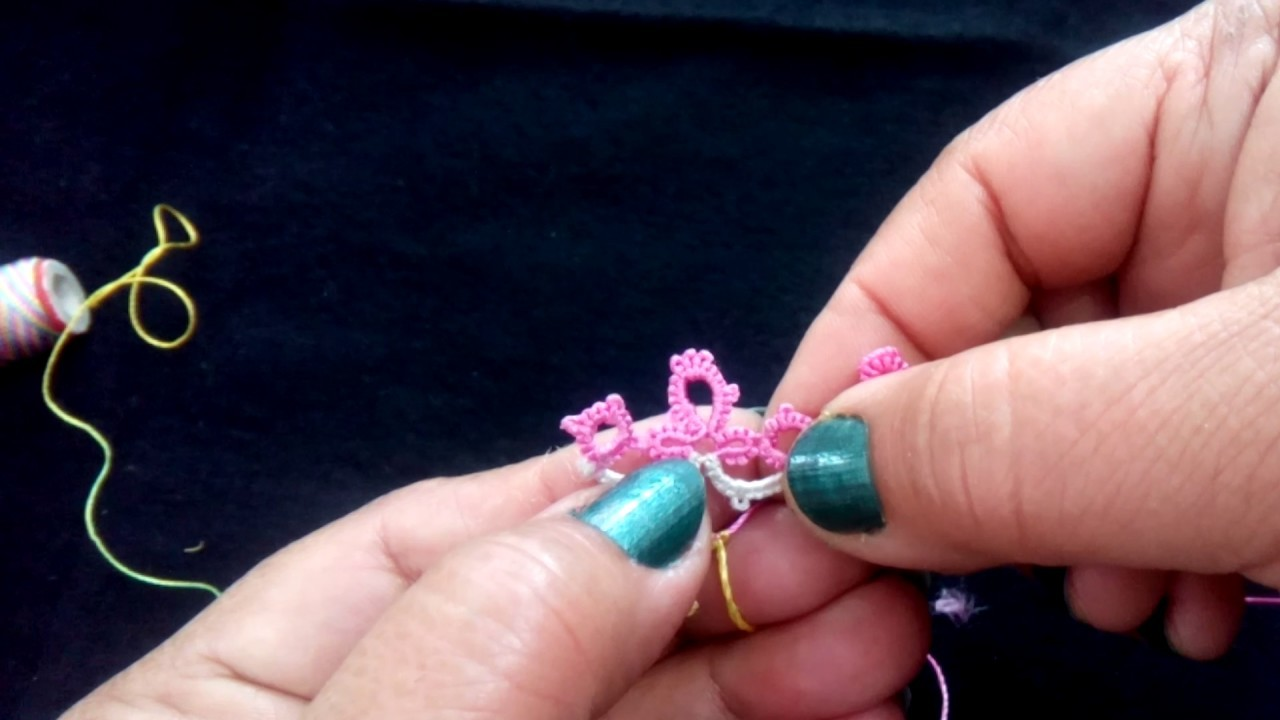 35-Shuttle tatting#Lesson-7,How to add 2nd colour and make a beautiful lace(Hindi.Urdu)