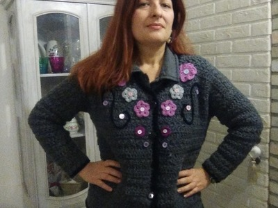 CROCHET JACKET with flowers ALL SIZES PART I of 2 new easy for beginners