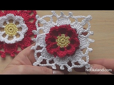 Crochet Square Motif Tutorial  Crochet  Flower Square blanket pattern