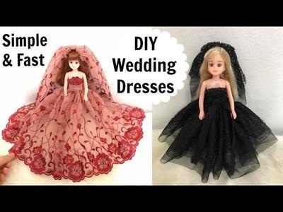 DIY Gothic & Burgundy Wedding Dresses for Dolls (Simple&Fast)