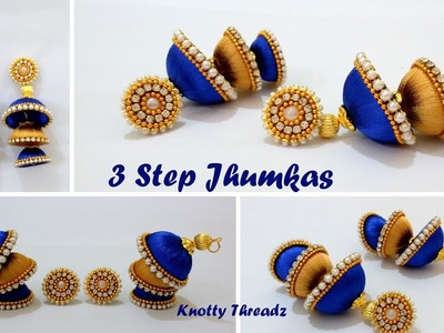 | DIY | How to make Double Coloured 3 Step Jhumkas in a very easy way at Home | Tutorial |