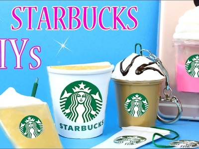 DIY School Supplies - 5 Starbucks DIYs (Liquid Phone Case, Mini Notebook, Slime   Pen & Keychain. )