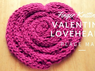 Finger Knitting- How to make Valentines day table place mat Full tutorial