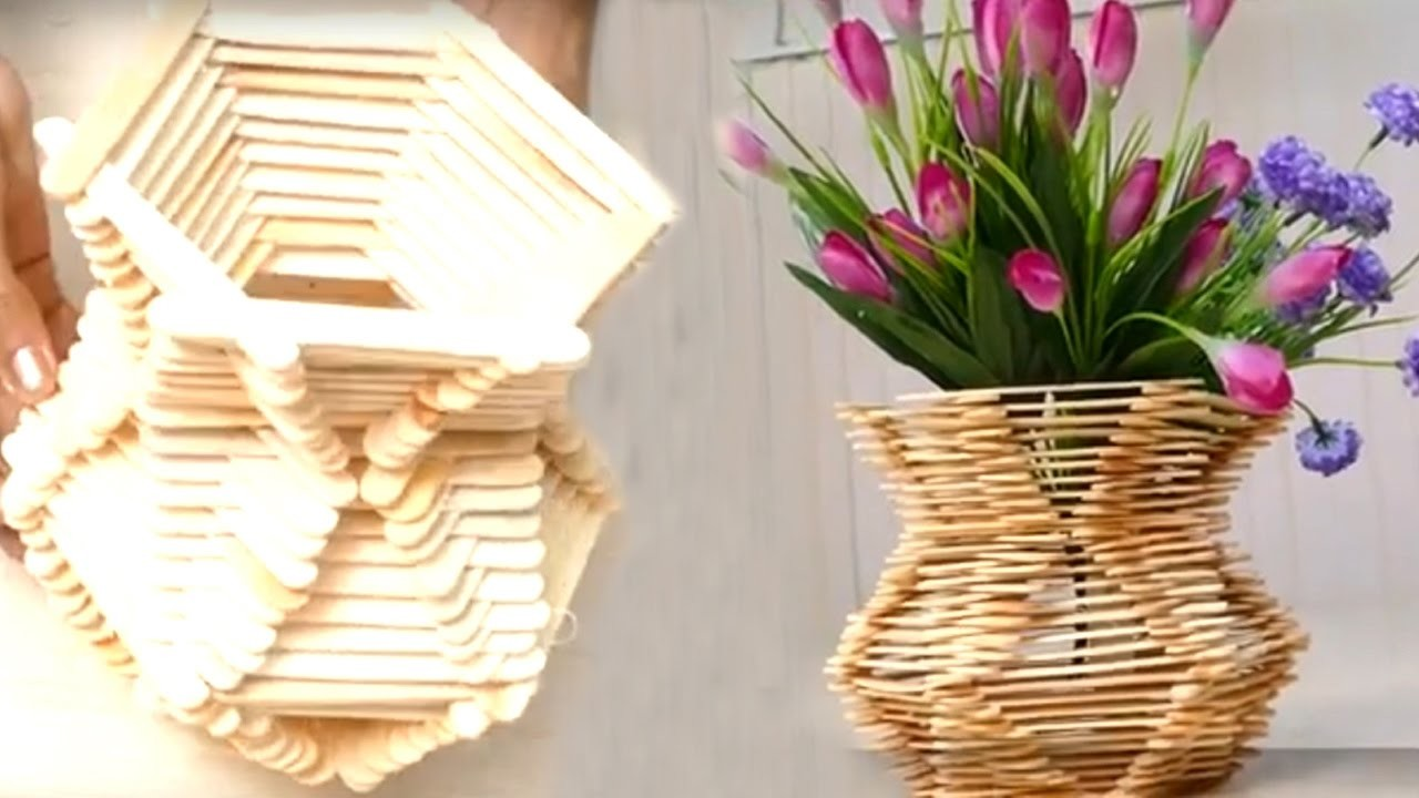 How To Make A Basket With Flowers : How to make flower basket with ice cream sticks hd my