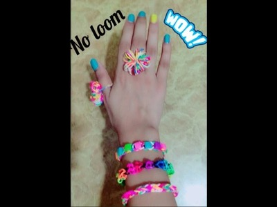 How to make rubber band bracelet and ring without loom(Easy way)