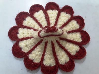 Part 2 - Make flower shape two colour crochet dress.poshak of bal gopal - beginner level