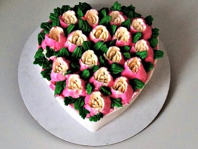 Cake decorating tutorials - how to make a rose heart shape cake with Russian tips -Sugarella Sweets