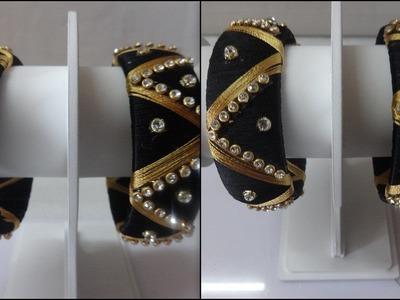 DIY - Designer Black Silk Thread Bangle