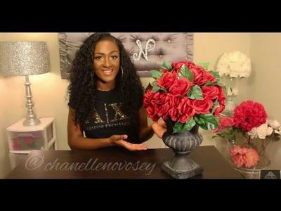 DIY: How to make an Urn Floral Arrangement | DOLLAR TREE | Under $20 | Goodwill | Rose Centerpiece