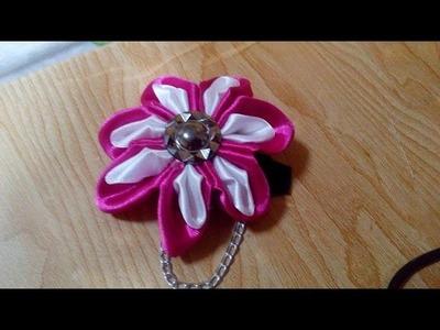 DIY Kanzashi Flower - How to Make an Easy Kanzashi Flower + Tutorial .