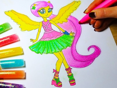 DIY My Little Pony Coloring Book : Arts for kids : How to color Fluttershy , Equestria Girls!