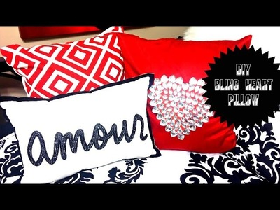 DIY No Sew Bling Valentine's Heart Pillow