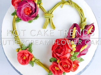 Heart shaped Valentine's Day flower wreath cake - How to make by Olga Zaytseva. CAKE TRENDS 2017 #4