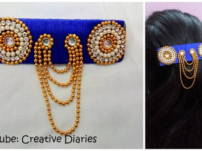 How to make designer silk thread hair clip from an ordinary clip I DIY easy hair accessories