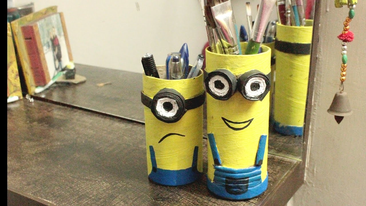 How to Make Minions Pen Stand with Waste Material l Pencil Holder l Live in Art l Shikha Parashar l