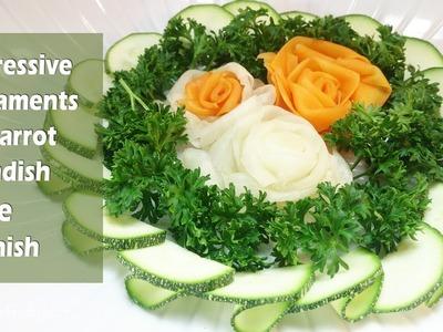 Impressive Ornaments Of Carrot & Radish Rose Garnish - How To Make Vegetable Rose Flower