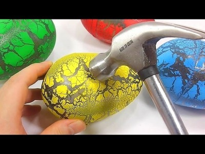 DIY Break Colors Big Dinosaur Egg Learn Colors Numbers Counting Slime Surprise Toys | ABC Song BINGO