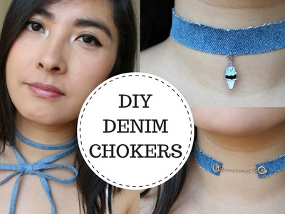 DIY Choker Necklaces   DIY Denim Chokers