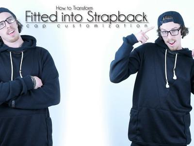 DIY Hat Transformation   Turn Fitted Hat into Strapback.Strapback Hat