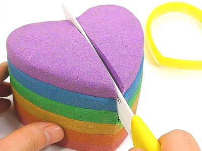 Finger Family | How To Make Rainbow Colors Kinetic Sand Heart Cake Learn Colors Slime Icecream Toys