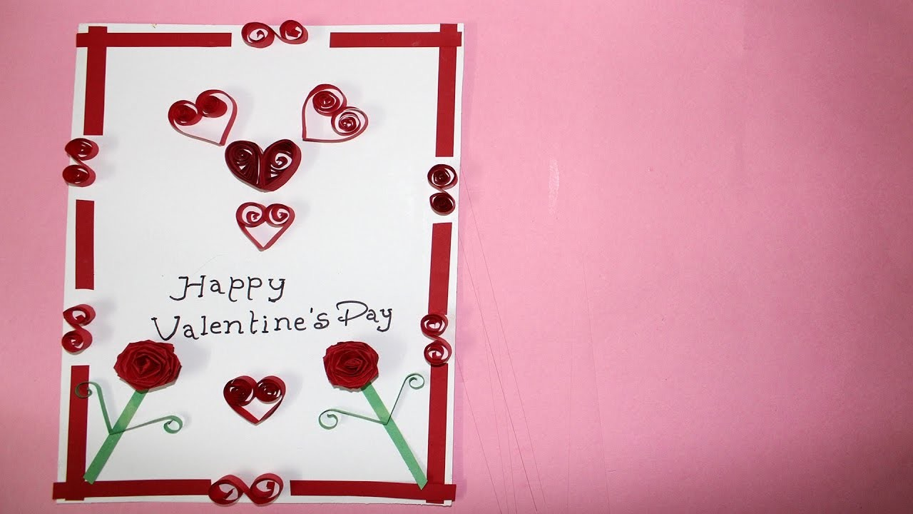 Handmade Valentines Day Quilling Greeting Card Making