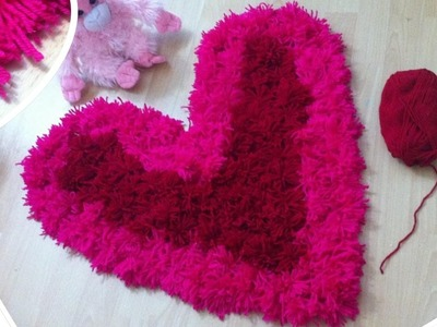 Heart shaped shag rug DIY.Valentines day pink and red rug
