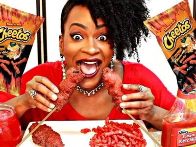 MUKBANG: AMAZING DIY HOT CHEETOS BACON CORN DOGS! COOK WITH ME! YUMMYBITESTV